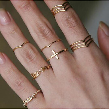 cheap Rings-Women's Classic Ring Ring Set Cross Letter Simple European Trendy Fashion Ring Jewelry Gold For Daily Carnival School Street Club 11pcs