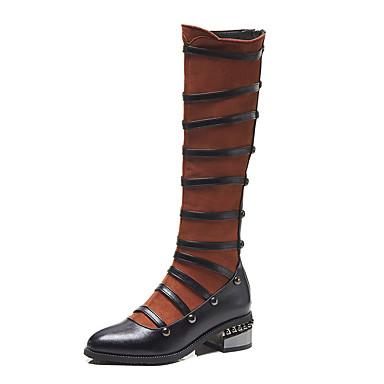 voordelige Dameslaarzen-Dames Stiletto Heel Boots PU Herfst winter Vintage / Brits Laarzen Blokhak Ronde Teen Knielaarzen Siernagel Zwart / Donker Bruin / Feesten & Uitgaan