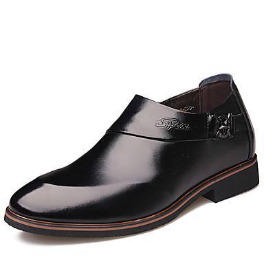 בגדי ריקוד גברים נעלי עור עור אביב קיץ בריטי נעליים ללא שרוכים גובה הגוברת שחור / חום