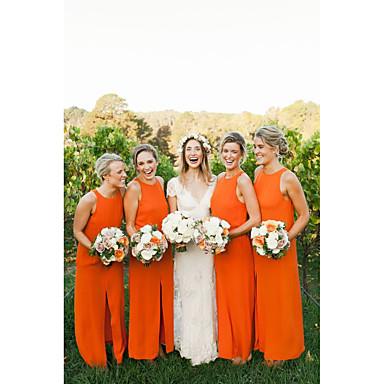 גזרת A עם תכשיטים באורך הקרסול שיפון שמלה לשושבינה  עם שסע קדמי על ידי JUDY&JULIA