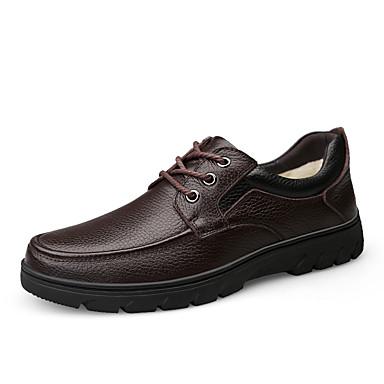 בגדי ריקוד גברים נעלי עור עור נאפה Leather חורף ספורטיבי / יום יומי נעלי אתלטיקה טיפוס / הליכה ללא החלקה שחור / חום