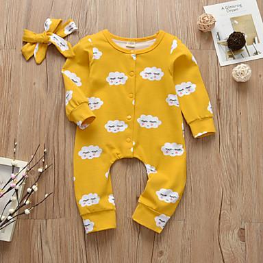 46ae1d32 billige Babyklær-Baby Jente Aktiv / Grunnleggende Trykt mønster Trykt  mønster Langermet Endelt Gul