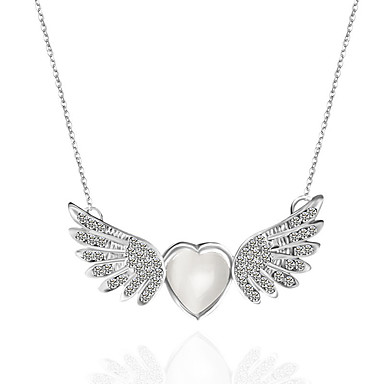 b42ab749f87 Women's Clear Cat's Eye Pendant Necklace Classic Love Angel Wings Vintage  Basic Elegant Chrome Imitation Diamond Silver 45 cm Necklace Jewelry 1pc  For ...