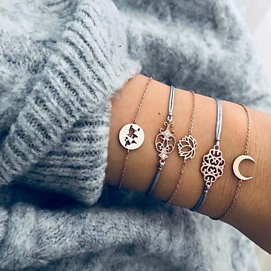 voordelige Armband-5 stuks Dames loom Bracelet Armband met hanger Meerlaags MOON Bloem Europees Casual / Sporty Etnisch Modieus Rips Armband sieraden Goud Voor Lahja Dagelijks Feestdagen Werk