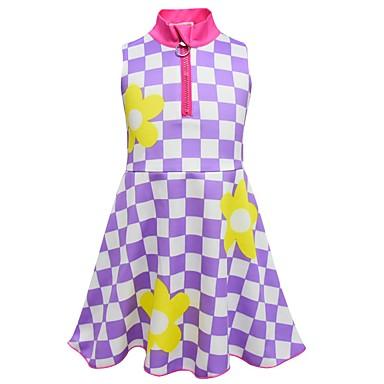 お買い得  女児 ドレス-子供 幼児 女の子 活発的 ストリートファッション フラワー 千鳥格子 ノースリーブ 膝上 ドレス パープル