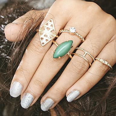 בגדי ריקוד נשים טבעת הגדר זירקונה מעוקבת 6pcs שחור ירוק כחול סגסוגת מעגלי ארופאי חתונה תכשיטים חמוד