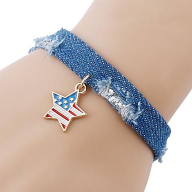 billige Motearmbånd-Dame Vevet Armband Armbånd med anheng Flettet amerikansk flagg Stjerne Flagg Patriotiske smykker Europeisk trendy Mote Snor Armbånd Smykker Regnbue Til Daglig Festival
