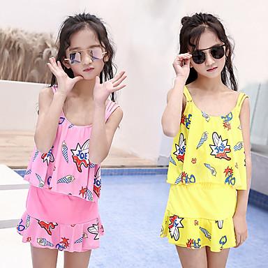 בנות שני בגד ים אלסטיין בגדי ים הגנה מפני השמש UV ייבוש מהיר ללא שרוולים 2חלקים - שחייה טלאים אביב קיץ / גמישות גבוהה / בגדי ריקוד ילדים
