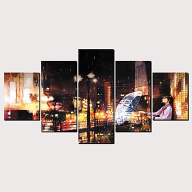 דפוס הדפסי בד מגולגל - מופשט סרט מצויר קלסי מודרני חמישה פנלים הדפסים אמנותיים