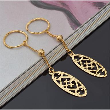 בגדי ריקוד נשים עגילי טיפה קלאסי שִׂמְחָה מסוגנן ציפוי זהב עגילים תכשיטים זהב עבור מתנה יומי זוג 1