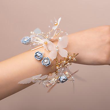 פרחי חתונה זר פרחים לפרק כף יד חתונה פרחים מלאכותיים 0-10  ס