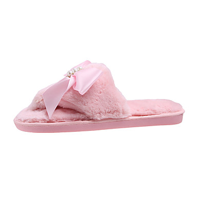 voordelige Damespantoffels & slippers-Dames Slippers & Flip-Flops Platte hak Imitatiebont Lente / Herfst winter Zwart / Beige / Roze
