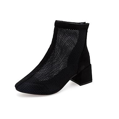 בגדי ריקוד נשים מגפיים עקב עבה רשת יום יומי קיץ שחור / אפור