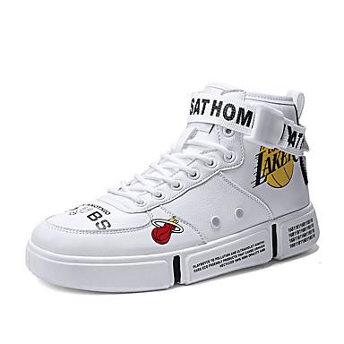 בגדי ריקוד גברים / יוניסקס נעלי נוחות PU סתיו חורף יום יומי נעלי ספורט ללא החלקה לבן / שחור