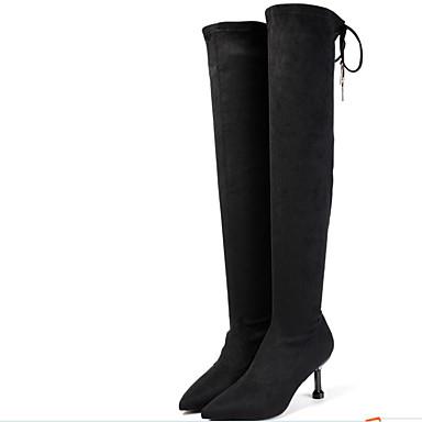 voordelige Dameslaarzen-Dames Polyester Lente Laarzen Naaldhak Gepuntte Teen Over de knie laarzen Zwart