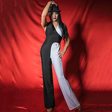 ריקוד לטיני בגדי גוף בגדי ריקוד נשים הצגה ספנדקס מפרק מפוצל ללא שרוולים / סרבל תינוקותבגד גוף