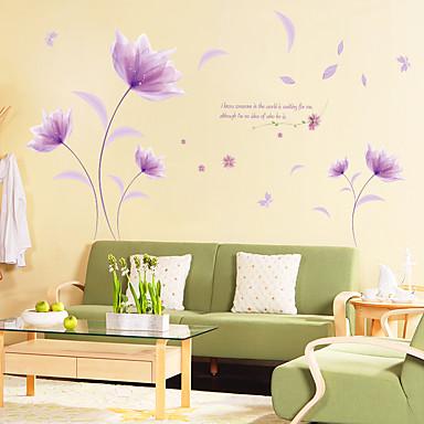 מדבקות קיר דקורטיביות - מדבקות קיר מטוס פרחוני / בוטני חדר שינה / פנימי