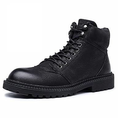 בגדי ריקוד גברים נעלי עור עור נאפה Leather חורף ספורטיבי / יום יומי מגפיים הליכה שמור על חום הגוף מגפונים\מגף קרסול שחור / חום / בָּחוּץ / משרד קריירה / מגפי שלג / Fashion Boots