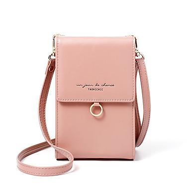 Недорогие Функциональные сумки-Жен. Мобильный телефон сумка PU Сплошной цвет Миндальный / Коричневый / Серебряный