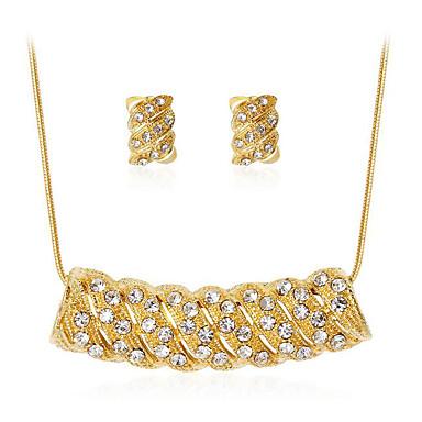 בגדי ריקוד נשים צלול קריסטל סטי תכשיטי כלה רטרו אהבה מסוגנן סגנון חמוד אלגנטית עגילים תכשיטים זהב עבור Party יומי 1set