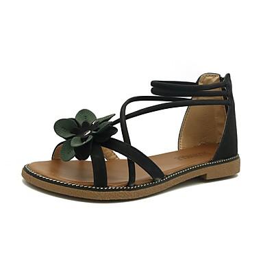 baratos Super Ofertas-Mulheres Sandálias Sem Salto Couro Ecológico Verão Preto / Bege / Verde