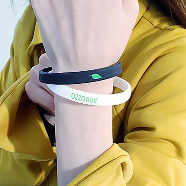 voordelige Armband-2pcs Dames Oorbellen / armband Yoga Bladvorm Alfabetvorm Eenvoudig Klassiek Casual / Sporty Modieus leuke Style silica Gel Armband sieraden Zwart Voor Dagelijks School Straat Feestdagen Festival