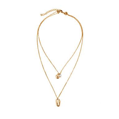 billige Mote Halskjede-Dame lagdelte Hals Multi Layer Skall Vintage Victoriansk Chrome Gull 40 cm Halskjeder Smykker 1pc Til Daglig Gate