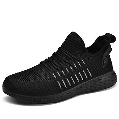 בגדי ריקוד גברים נעלי נוחות בד גמיש / Tissage וולנט קיץ ספורטיבי נעלי אתלטיקה ריצה ללא החלקה שחור / בז'