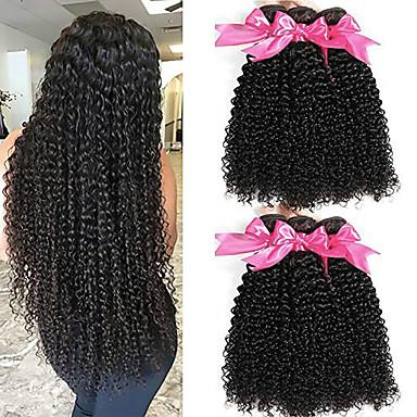 baratos Extensões de Cabelo Natural-6 pacotes Cabelo Malaio Kinky Curly Não processado Cabelo Natural Peça para Cabeça Cabelo Humano Ondulado Extensor 8-28 polegada Côr Natural Tramas de cabelo humano Sem Cheiros Suave Lady sexy