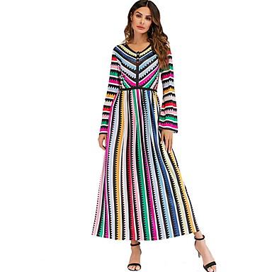 לבוש מסורתי ותרבותי שמלות בגדי ריקוד נשים לבוש יומיומי שיפון מפרק מפוצל שרוול ארוך שמלה