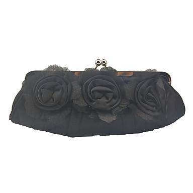 בגדי ריקוד נשים פרח משי תיק ערב צבע אחיד שחור / כסף / סגול / סתיו חורף