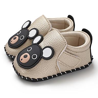 בנים / בנות צעדים ראשונים PU נעלי ספורט תינוקות (0-9m) / פעוט (9m-4ys) זהב / לבן / שחור אביב / סתיו / גומי
