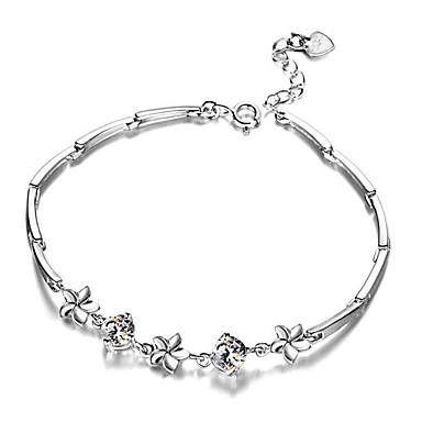 abordables Bracelet-Chaînes Bracelets Femme Classique Zircon Plaqué or Content Elégant Bracelet Bijoux Blanc Forme Géométrique pour Cadeau Quotidien