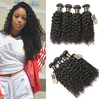 baratos Extensões de Cabelo Natural-6 pacotes Cabelo Eurásio Kinky Curly Cabelo Virgem Cabelo Humano Ondulado Extensor Cabelo Bundle 8-28 polegada Côr Natural Tramas de cabelo humano Sem Cheiros Grossa Para Mulheres Negras Extensões de