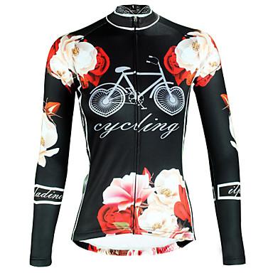 ILPALADINO Žene Dugih rukava Biciklistička majica Crn Cvjetni / Botanički Bicikl Majice Prozračnost Quick dry Ultraviolet Resistant Sportski Zima Elastan Brdski biciklizam biciklom na cesti Odjeća