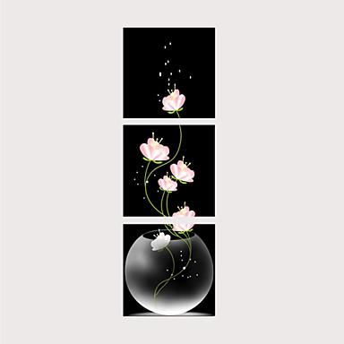 hesapli Tablolar-Boyama Haddelenmiş Kanvas Tablolar - Botanik Geleneksel Modern Üç Panelli Sanatsal Baskılar