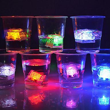 12pcs הובילה קוביות קרח זוהר צד הכדור פלאש אור זוהר ניאון פסטיבל חתונה חג המולד בר יין קישוט זכוכית אספקה