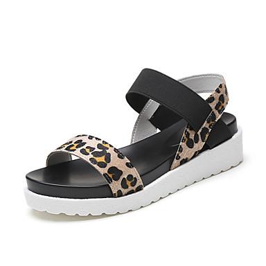 povoljno Ženske cipele-Žene Sandale Wedge Heel Peep Toe Brušena koža Ležerne prilike Hodanje Proljeće ljeto / Jesen zima Crn / Leopard / Obala