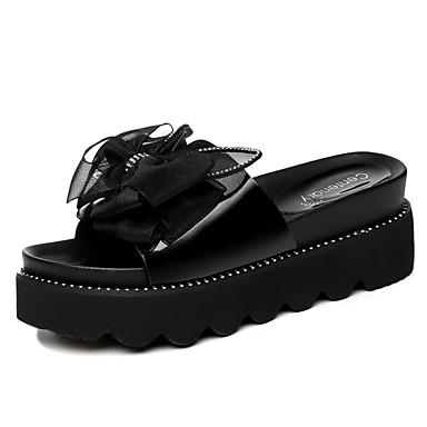 voordelige Damespantoffels & slippers-Dames Slippers & Flip-Flops Creepers Strik Synthetisch Zoet / minimalisme Lente & Herfst / Zomer Zwart / Grijs