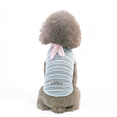 כלבים טרנינג בגדים לכלבים פסים כחול כהה כחול בהיר כותנה / פוליאסטר תחפושות עבור אביב, סתיו, חורף, קיץ סגנון מינימליסטי
