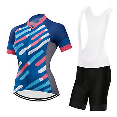 בגדי ריקוד נשים שרוולים קצרים חולצת ג'רסי ומכנס קצר ביב לרכיבה כחול / לבן כחול / שחור גאומטרי אופניים חליפות בגדים ייבוש מהיר ספורט גאומטרי רכיבת הרים רכיבת כביש ביגוד / סטרצ'י (נמתח)