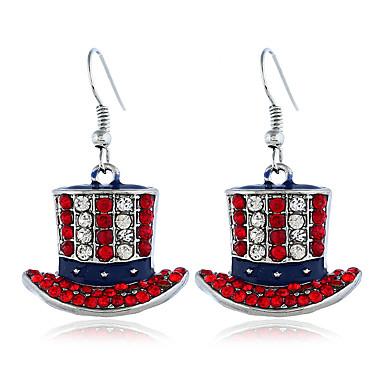 בגדי ריקוד נשים זירקונה מעוקבת עגיל קלאסי דגל אמריקאי תכשיטים פטריוטים ארופאי טרנדי אופנתי מודרני עגילים תכשיטים כסף עבור מתנה יומי רחוב פֶסטִיבָל זוג 1