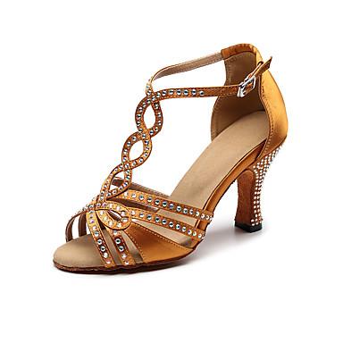 baratos Sapatos de Salsa-Mulheres Sapatos de Dança Cetim Sapatos de Dança Latina / Dança de Salão / Sapatos de Salsa Pedrarias Sandália / Salto Salto Robusto Não Personalizável Bronze / EU37