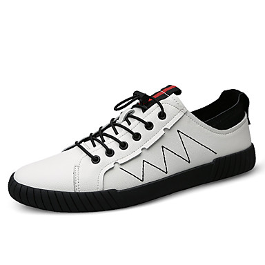בגדי ריקוד גברים נעלי עור עור נאפה Leather אביב קיץ / סתיו חורף ספורטיבי / יום יומי נעלי ספורט הליכה ללא החלקה לבן / שחור