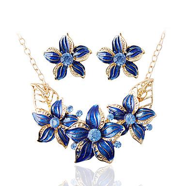 בגדי ריקוד נשים סטי תכשיטי כלה רטרו פרח אהבה הצהרה מסוגנן סגנון חמוד אלגנטית דמוי פנינה עגילים תכשיטים שחור / סגול / כחול עבור Party יומי 1set
