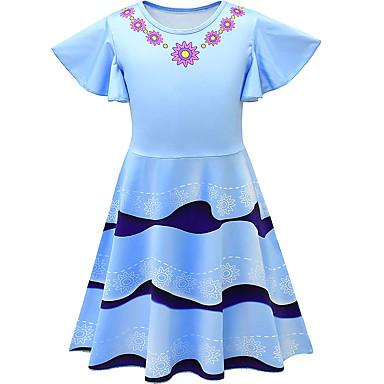 お買い得  女児 ドレス-子供 幼児 女の子 活発的 ストリートファッション 幾何学模様 半袖 膝丈 ドレス ブルー