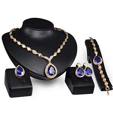 voordelige Dames Sieraden-Dames Blauw Synthetische Aquamarijn Bruidssieradensets Briolette Drop Stijlvol Verguld oorbellen Sieraden Goud Voor Feest Dagelijks 1 set