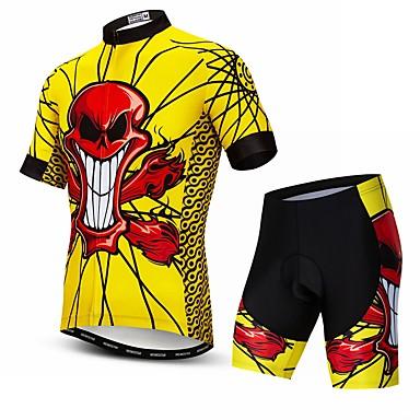 WEIMOSTAR Erkek Kısa Kollu Şortlu Bisiklet Forması Kırmızı / Sarı Kuru Kafalar Bisiklet Giysi Takımları Nefes Alabilir Hızlı Kuruma Spor Dalları Elastane Kuru Kafalar Dağ Bisikletçiliği Yol