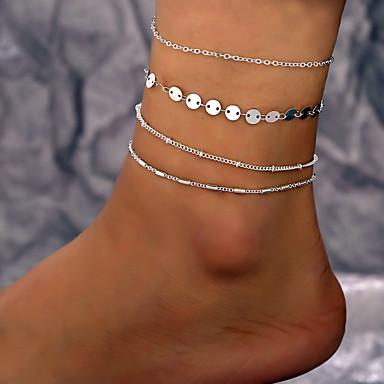 Kadın's Ayak bileği bilezik Çoklu Katman Basit Casual / Sportif Moda Ayak bileziği Mücevher Gümüş Uyumluluk Günlük Cadde Tatil / 4adet