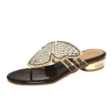 voordelige Damespantoffels & slippers-Dames Slippers & Flip-Flops Lage hak Open teen Strass PU Zomer Goud / Zwart / Blauw